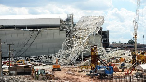 Stadium Itaquerão/São Paulo - November 27, 2013: A crane fell on its side and destroyed a part of the stadium. Two construction workers died
