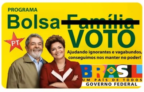 Many see the social program Bolsa Família as buying votes, particularly when the ruling PT increases the benefits in the face of the elections. The poster reads: Program Buying Votes - Helping the ignorants and vagabonds keeps us in power